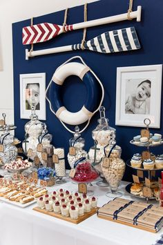 Nautical Themed Party nautical baby shower theme for boys: decorations and ideas for a gender neutral baby shower Baby Shower Niño, Baby Shower Themes, Baby Boy Birthday Themes, Baby Boy Themes, Baby Showers Marinero, Sailor Baby Showers, Sailor Theme Baby Shower, Sailor Party, Sailor Birthday