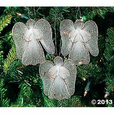 Angel Ornaments Christmas Crafts To Make, Homemade Christmas, Christmas Candles, Christmas Tree Ornaments, Christmas Decorations, Holiday Decor, Nylon Crafts, Wire Ornaments, Nylon Flowers