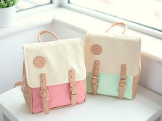 cute mini backpacks in pastel colours. Backpack Bags, Leather Backpack, Leather Bag, Pastel Backpack, Fashion Bags, Fashion Backpack, Cute Mini Backpacks, Mini Mochila, Cute Bags