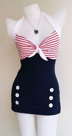 Vtg 50s Bettie Women Swimsuit in Navy Blue Polka Retro Vintage Sailor Women 1950s Swimwear One Piece New by beautychicshop on Etsy https://www.etsy.com/listing/191863129/vtg-50s-bettie-women-swimsuit-in-navy