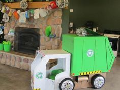 garbage truck made out of cardboard at my son's garbage truck birthday party
