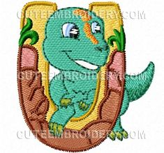 This free embroidery design is the letter U from Cute Embroidery's Jurassic Dinosaur Font.