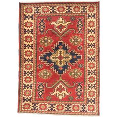 ecarpetgallery Finest Kargahi Red/ Yellow Wool Rug (3'5 x 4'10) - Overstock Shopping - Great Deals on Ecarpetgallery 3x5 - 4x6 Rugs