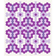 """Free Purple hexagon quilt idea, with flowers&butterfly, design by Dorte Rasmussen Denmark """"What if i did a garden quilt and then added my butterfly and make other hexagon creatures like caterpillars and bunnies? Hexagon Quilt Pattern, Hexagon Patchwork, Patchwork Patterns, Quilt Patterns, Purple Quilts, Colorful Quilts, Butterfly Quilt, Butterfly Design, Knitting Machine Patterns"""