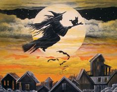 """Fly Away"" witch on a broomstick print by Byrum Art MHA team"