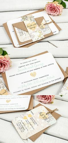 Norma and Dorthy kraft wedding invites with pretty flowers.