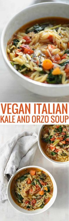 Tuscan Kale Soup. A delicious, healthy vegan soup with less than 250 calories a serving. This Italian Orzo and Kale soup is SO good. A must make! #vegansoup #vegandinner #soup #healthy #vegetarian #dinner | www.delishknowledge.com