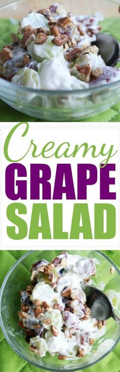 Creamy Grape Salad - a delicious cool summer salad with lots of texture and flavor! #grapesalad #salad #grapes #grapes