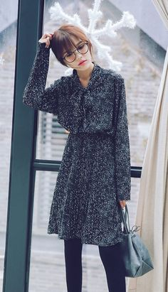 Fashiontroy Hipster & indie long sleeves black neck-tie printed chiffon midi dress
