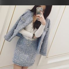 Find More Women's Sets Information about Light blue tweed jacket + skirt suits hand beaded 2016 spring /autumn /winter women's Jackets coat new ladies 2 piece skirt suit,High Quality jacket work,China suit jacket size Suppliers, Cheap jacket independent from Ladies advanced customization .Miss Laneoo on Aliexpress.com