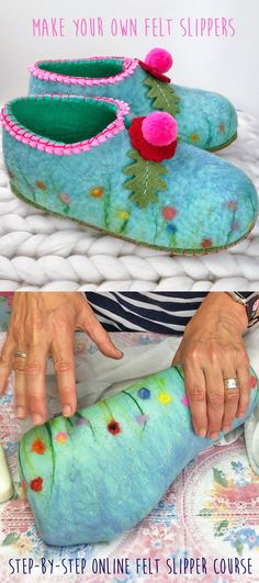 Make your own homemade warm cozy Felt Slippers this winter with a few pieces of simple equipment, wool-tops, + my diy online tutorial! Great fun to make for yourself, or as handmade Christmas crafts gift ideas for family & friends too - even if you are a Handmade Christmas Crafts, Diy Christmas Gifts For Family, Felt Christmas, Christmas Pics, Easy Felt Crafts, Felt Diy, Handmade Felt, Wet Felting Projects, Needle Felting Tutorials