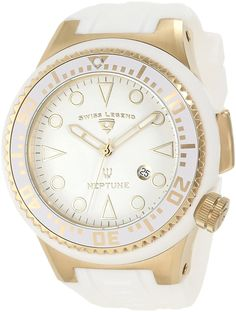 Swiss Legend Men's 21818D-YG-02-WHT Neptune White Dial White Silicone Watch -- Visit the image link more details.
