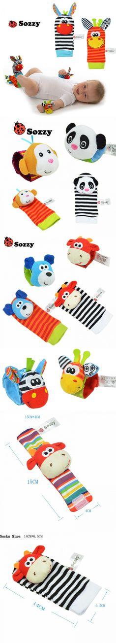 SOZZY Baby Rattles Toys Animal Socks Wrist Strap With Rattle Baby Foot Socks Style Bug Monkey Dog Deer Panda $2.54