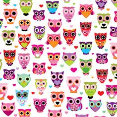 Retro Owl Wallpaper | Cute colorful retro style owl illustration pattern Stretched Canvas by ...
