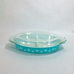 White Snowflake on Turquoise Pyrex Divided Casserole with Lid