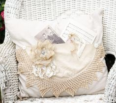 Inspiration for using crochet or lace collars without cutting them...attach to a pillow with buttons.