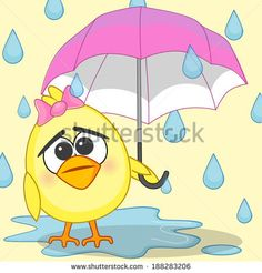 Greeting card Chicken with umbrella