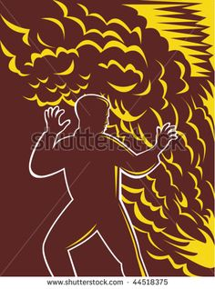 vector illustration of a Man scared in front of burning fire and smoke #fire #retro #illustration