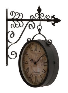 Vintage Retro Double Side Hanging Wall Clock Blue Products