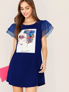 To find out about the Layered Mesh Sleeve Figure Graphic Dress at SHEIN, part of our latest Dresses ready to shop online today! Fashion 2020, Fashion News, Cute Dresses, Summer Dresses, Tulle, Hot Dress, Latest Dress, Active Wear For Women, Types Of Sleeves