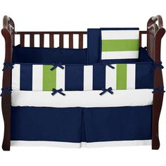 Sweet Jojo Designs Navy Blue and Lime Green Stripe 9 Piece Crib Bedding Set & Reviews   Wayfair