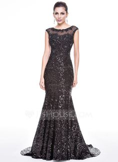 Trumpet/Mermaid Scoop Neck Court Train Tulle Sequined Evening Dress With Beading Appliques Lace (017056493)