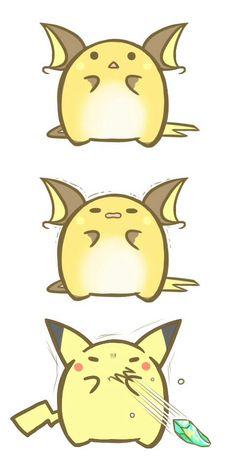 Raichu devolving into Pikachu