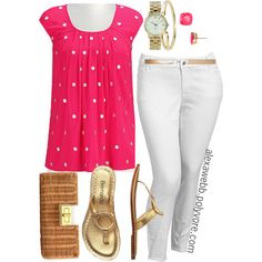 """#plus #size #summer """"Hot Pink Summer - Plus Size"""" by alexawebb on Polyvore"""