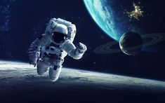 astronaut, 4k, Earth, space, galaxy, satellites