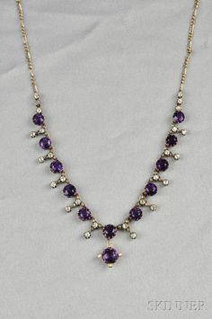 Antique Amethyst and Diamond Necklace, composed of circular-cut amethyst spaced by old mine-cut diamond links, silver-topped gold mount, and completed by later 9kt gold chain, lg. 15 1/2 in. Victorian or Victorian style