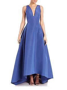 Carolina Herrera Silk Faille Hi-Lo Gown
