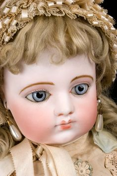 """Darling early french bisque head F.G. """"Block"""" Bebe, circa 1887"""