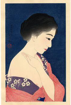 "Torii Kotondo  Title""Kesho"" (Make-up)  MediumOriginal Limited Edition Japanese Woodblock Print  Series TitleBeauties  Edition#122/200  Date1929  PublisherSakai/Kawaguchi"