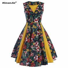 fdb3b9a6d2 2XL HimanJie Kobiety Nowy 50 s 60 s Retro Vintage Sukienka Polka druku  Patchwork Wiosna Lato