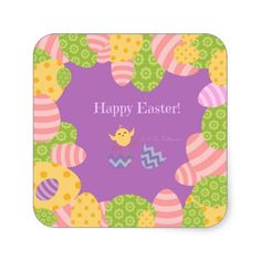 Square Stickers - Happy Easter!