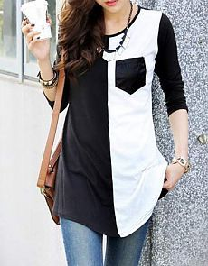 Casual Women's Scoop Neck Color Block 3/4 Sleeve T-Shirt (BLACK,L) | Sammydress.com