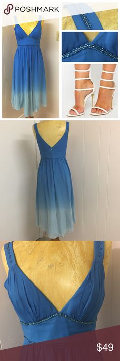 A vision in blue BCBG Paris Ombré and beaded gown. This would be perfect for a wedding or fancy event. Stylish ombré and delicate bead work. Excellent condition and quality. Size 8 BCBG Dresses