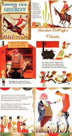 Fishinkblog 6442 Aurelius Battaglia 19 Vintage Illustration Art, Watercolor Illustration, Midcentury Artwork, Beautiful Book Covers, Children's Picture Books, Childrens Books, Kid Books, Story Books, Retro Art