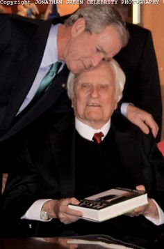 """Rev. Billy Graham.  Seen here with President George W Bush.  """"Self-centered indulgence, pride and a lack of shame over sin are now emblems of the American lifestyle."""" Billy Graham"""