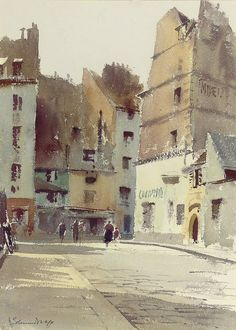 Rue St. Julien La Pauvre, Paris, Edward Seago. English (1910 - 1974) - watercolor -