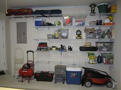 Weekend DIY Ideas: Garage Projects nstall Wall Shelves Installing a shelf in your garage is a weekend project worth looking into since it creates extra storage space in an otherwise empty room. We recommend that you use pre-packaged shelves if you'd prefer avoiding using big tools.First, make the appropriate measurements to ensure the units are aligned properly. Then, drill in the anchors, followed by the screws and, voila, your garage shelf is complete.
