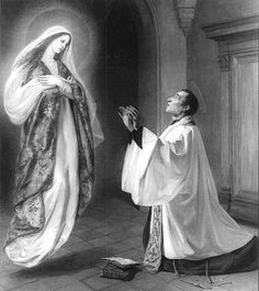 Saint of the Day – April 28 – St. Louis Marie Grignion de Montfort 1673-1716 Priest, Founder, Missionary of the Holy Rosary and Our Lady #pinterest Louis's life is inseparable from his efforts to promote genuine devotion to Mary, the mother of Jesus and mother of the Church. Totus tuus (completely yours) was Louis's personal motto; Karol Wojtyla (John Paul II, October 22) chose it as his episcopal motto...........| Awestruck.tv