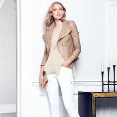 There's a slight shimmer to this leather jacket, so wear it with crisp separates for daytime or nighttime polish. #seasonofstyle #WHBM