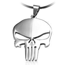 AWESOME MEN'S TITANIUM STEEL SILVER PUNISHER SKULL STYLE PENDANT / NECKLACE