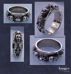 This Skeleton Ring Is Two Skeletons Holding The North Star Crafted In Sterling Custom Mens Wedding