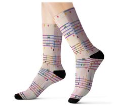 Show your love and passion with these fashionable music note socks. A must have for that music lover. These music socks will definitely make all your musician friends wondering where they can get a pair!  Would make a great gift for that musician or music lover.