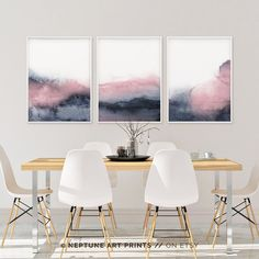Set of 3 Prints Printable Print Set Pink Blue Prints Blush Pink and Grey Wall Art Abstract Art Three Prints Bedroom Print Set Prints Grey Wall Art, 3 Piece Wall Art, Pink Wall Art, Wall Art Sets, Pink Bedroom Decor, Bedroom Prints, Frames On Wall, Framed Wall Art, Wall Art Decor