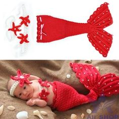 #MERMAID OUTFIT NEWBORN #IDEA FOR A NEWBORN PORTRAIT SHOOT #New Born Cute Animal Mermaid Design Infant Baby Crochet Wool Clothes Set Knit Photography Photo Props Newborn Outfits Red 18851