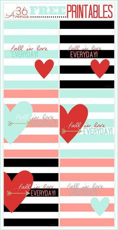 Super cute Free Printables at the36thavenue.com Two designs and three different color choices. Pin it now and print them later!