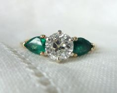A Natural Marquise Emerald and Diamond by RomanceVintageJewels